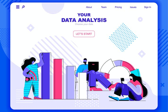 Thumbnail for Data Analysis Flat Concept Landing Page Header