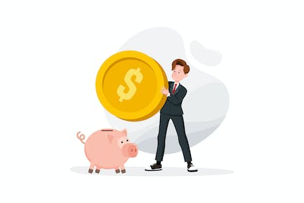 Businessman try to put a large coin into a piggy
