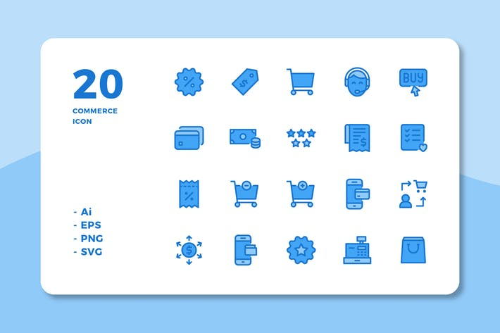 Thumbnail for 20 Commerce Icons (Lineal Color)