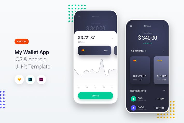 Cover Image For My Wallet App iOS & Android UI Kit Template 4