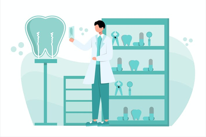 Thumbnail for Dentist Concept Flat Vector Illustration
