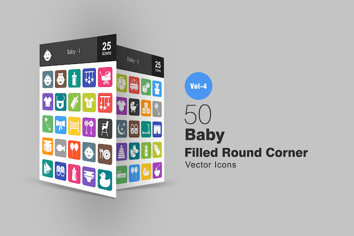 Thumbnail for 50 Baby Flat Round Corner Icons