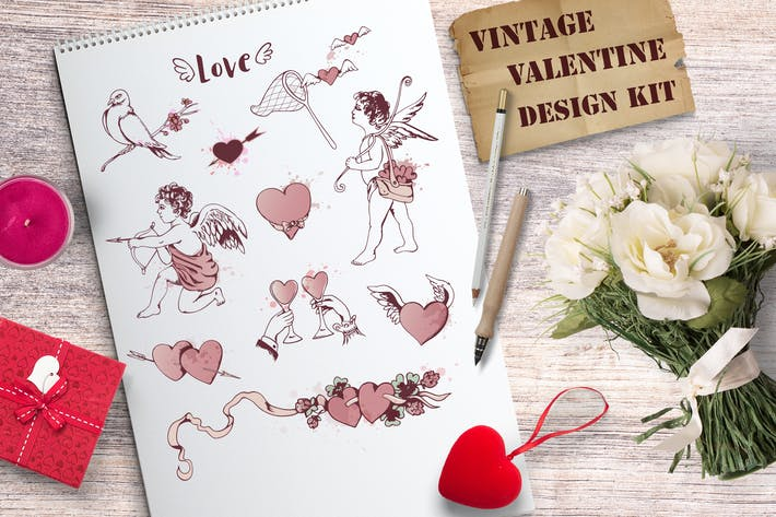 Thumbnail for Vintage Valentine Design Kit
