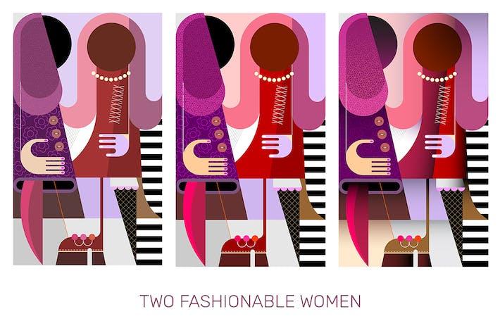 Thumbnail for Zwei modische Frauen Vektor Illustration