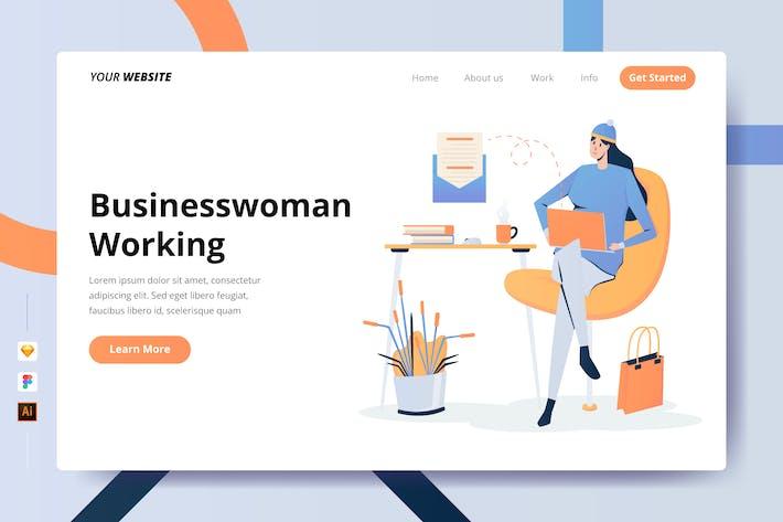 Businesswoman Working - Landing Page