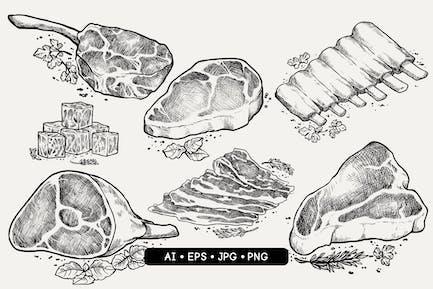 Hand Drawn Meat Cuts