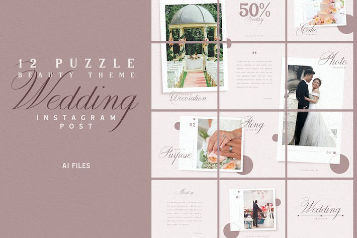 Thumbnail for Beauty Puzzle Theme - Wedding Instagram Post