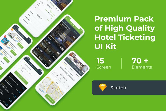 Cover Image For Hotel Booking UI KIT for Sketch