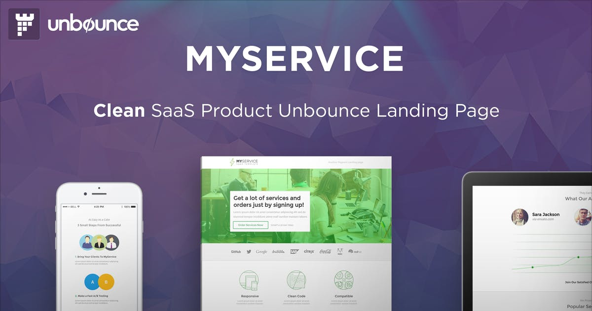 Download MYSERVICE - SaaS Product Unbounce Landing Page by PixFort