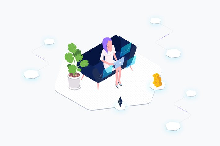 Thumbnail for Data Analysis Blockchain Platform Isometric
