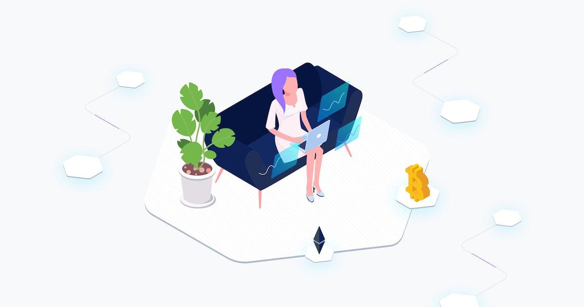 Download Data Analysis Blockchain Platform Isometric by angelbi88