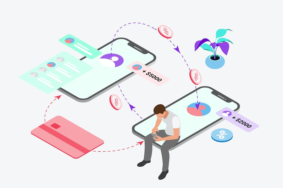 Transfer Feature by Digital Wallet Isometric