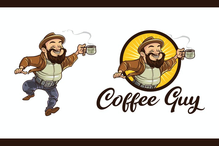 Thumbnail for Cartoon Bearded Coffee Guy Character Mascot Logo