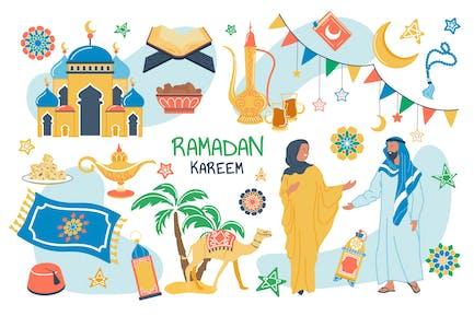 Ramadan Kareem Concept Ensemble d'éléments isolés