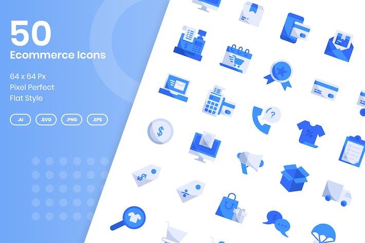 50 E-Commerce-Icons Set - Flach