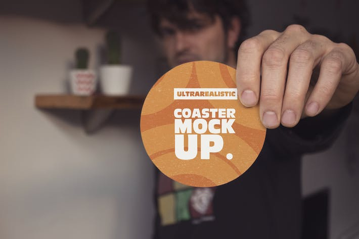 Thumbnail for Hand Front Round Coaster Mockup