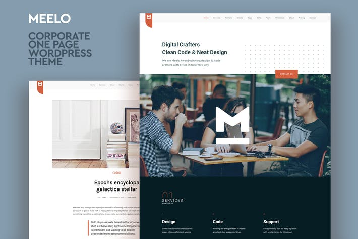 Thumbnail for Meelo - Corporate One Page WordPress Theme