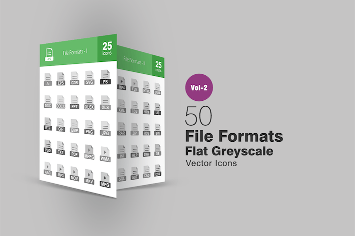 Thumbnail for 50 File Formats Greyscale Icons