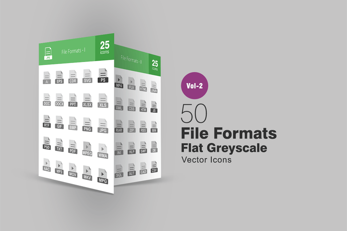Cover Image For 50 Dateiformate Graustufen-SyIcons
