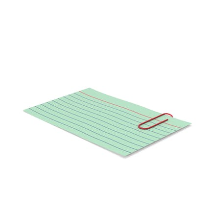 Index Card Green With Paper Clip
