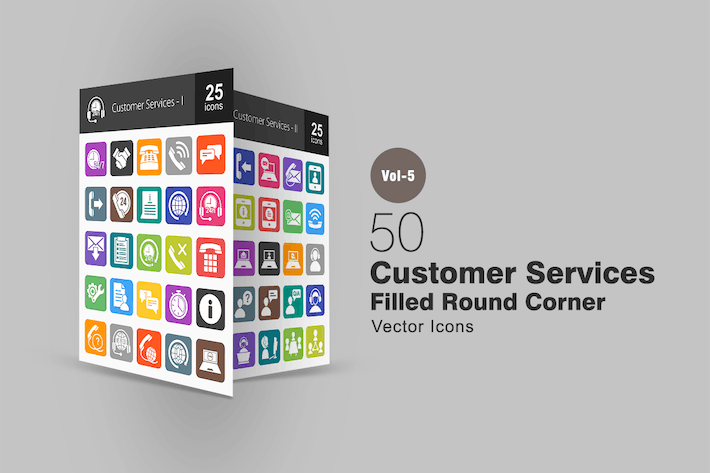 Thumbnail for 50 Customer Services Flat Round Corner Icons