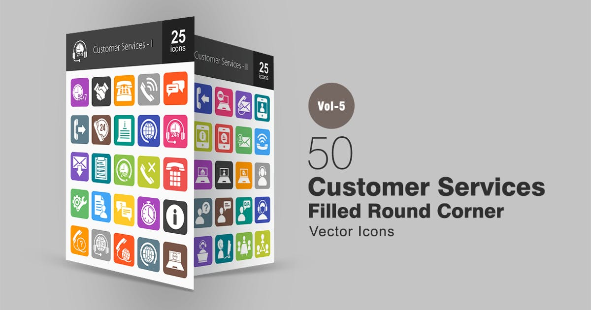 50 Customer Services Flat Round Corner Icons by IconBunny