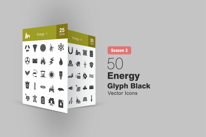 Thumbnail for 50 Energy Glyph Icons Season II