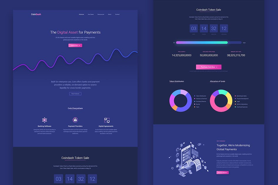Download Cryptocurrency Saas Landing Page Template Coindash by surjithctly