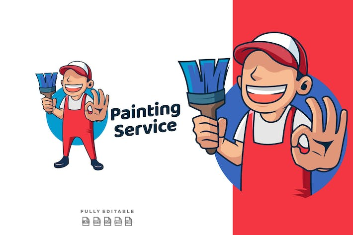 Thumbnail for Painting Service Mascot Retro