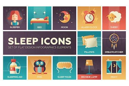 Dormir - Kit de Íconos de estilo de Diseño plano de color