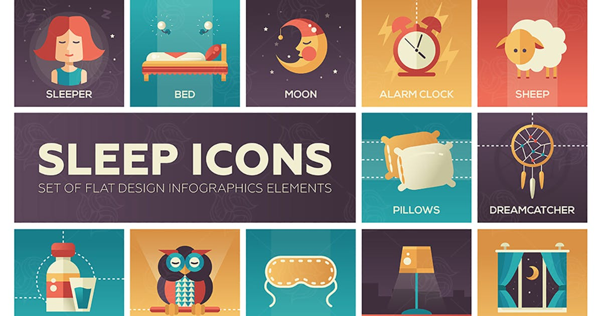 Download Sleeping - color flat design style icons set by BoykoPictures