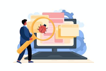Computer Adware Attack Illustration Concept