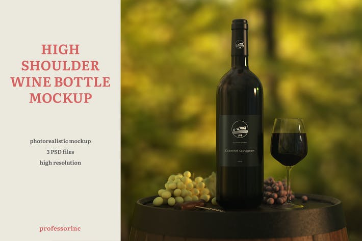 Thumbnail for High Shoulder Wine Bottle Mockup