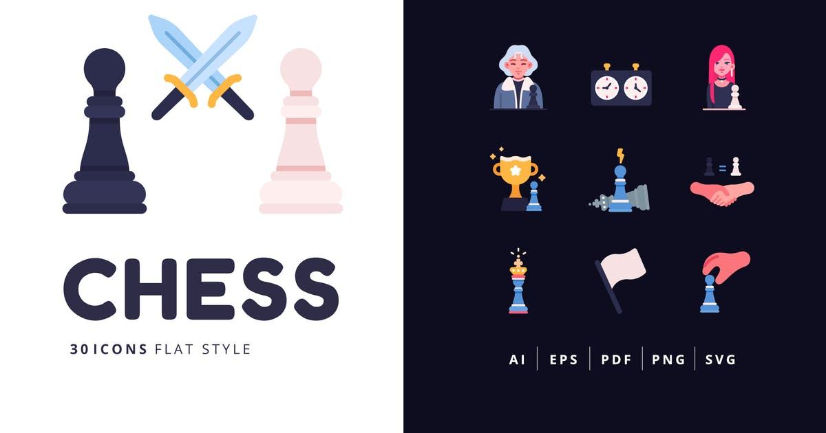 Download 30 Icons CHESS Flat Style by Victoruler