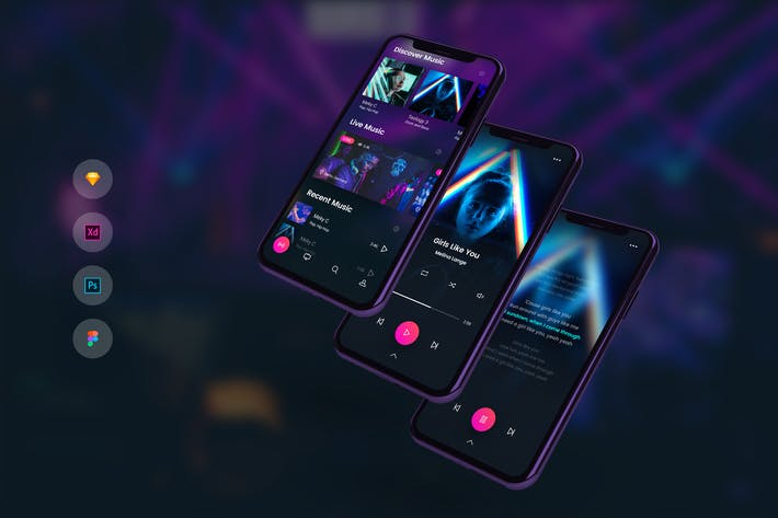 Thumbnail for Music Player with Lyrics Mobile UI Kit