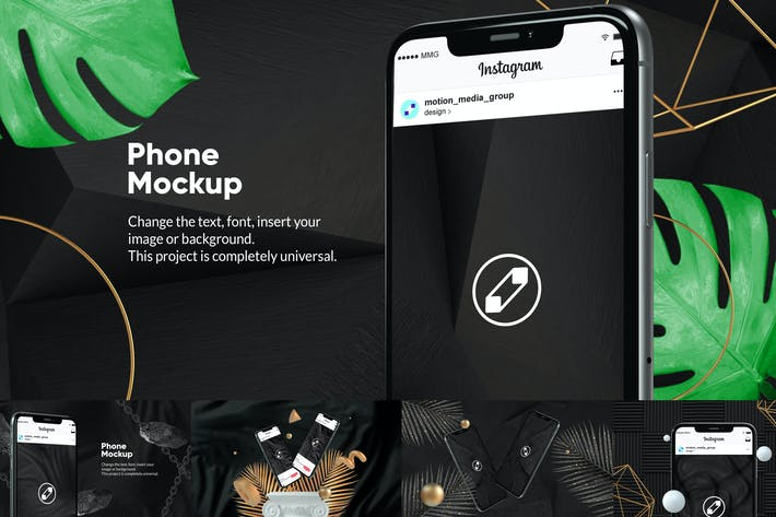 Thumbnail for 10 Black Phone Mockups