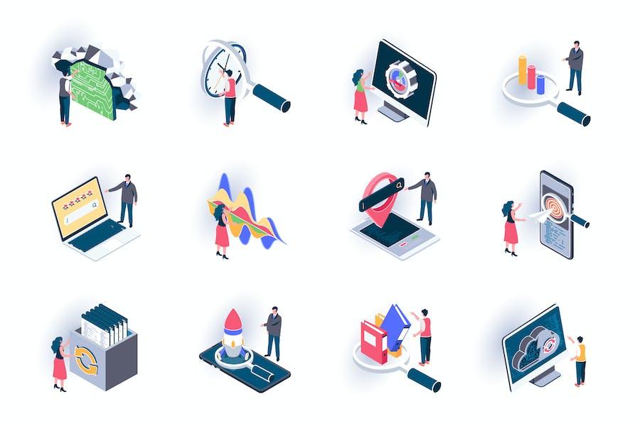 SEO Optimization Isometric Icons Pack