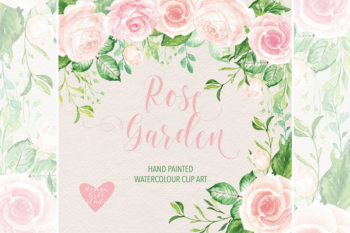 Cover Image For Watercolor Rose Garden clipart