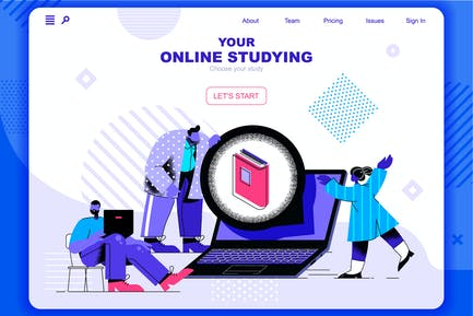Online studying Flat Concept Landing Page Header