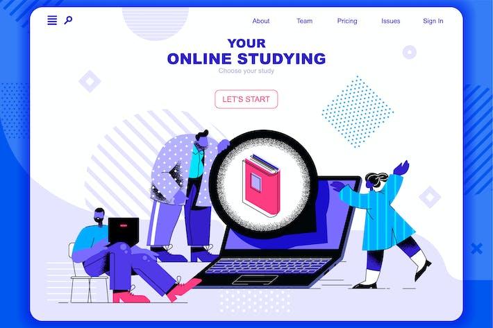 Thumbnail for Онлайн изучение Плоская концепция Landing Page Заголовок