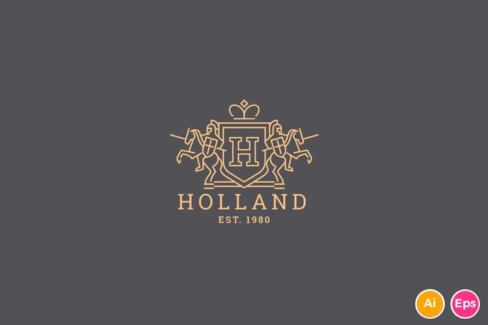 Cover Image For Holand - Letter H Heraldry logo Template