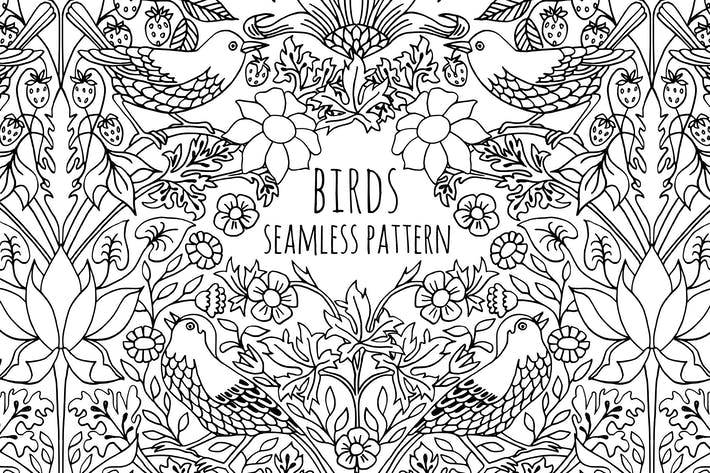 Thumbnail for Seamless Pattern With Hand Drawn Birds and Flowers