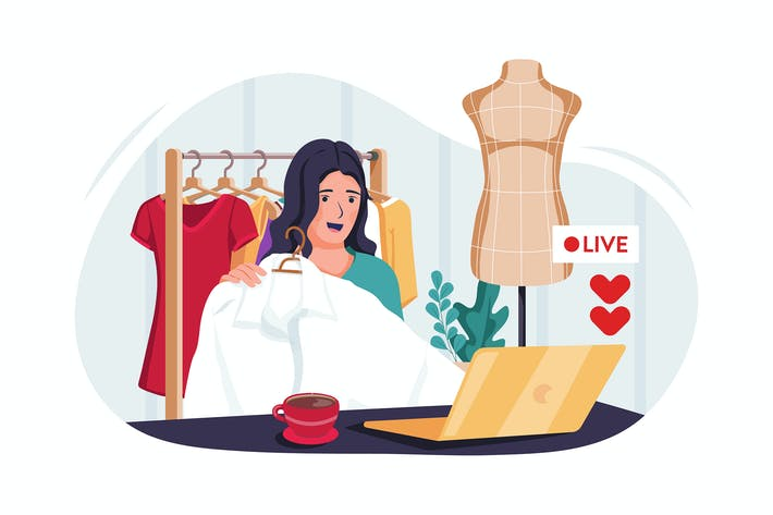 Thumbnail for Beauty blogger selling fashion online illustration