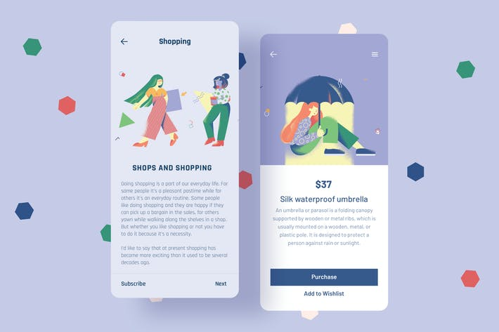 Thumbnail for Shopping Mobile Interface Illustrations