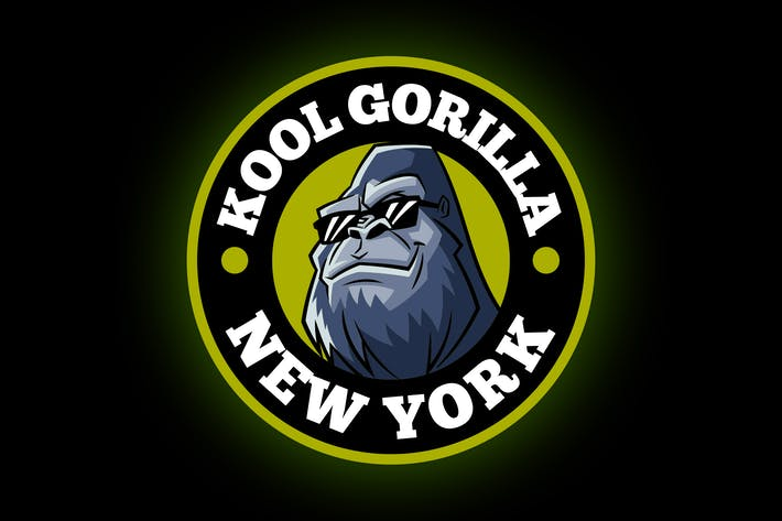 Cover Image For Cartoon Cool Geek Silverback Gorilla Mascot logo