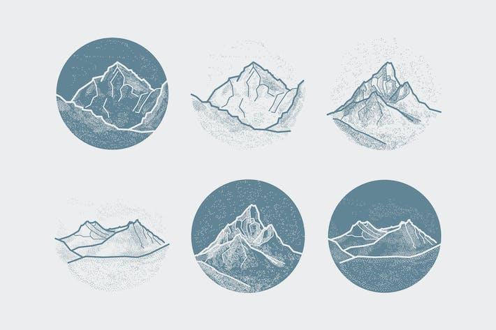 Thumbnail for Vector Mountains Tattoo. Blackwork, dot work, hips