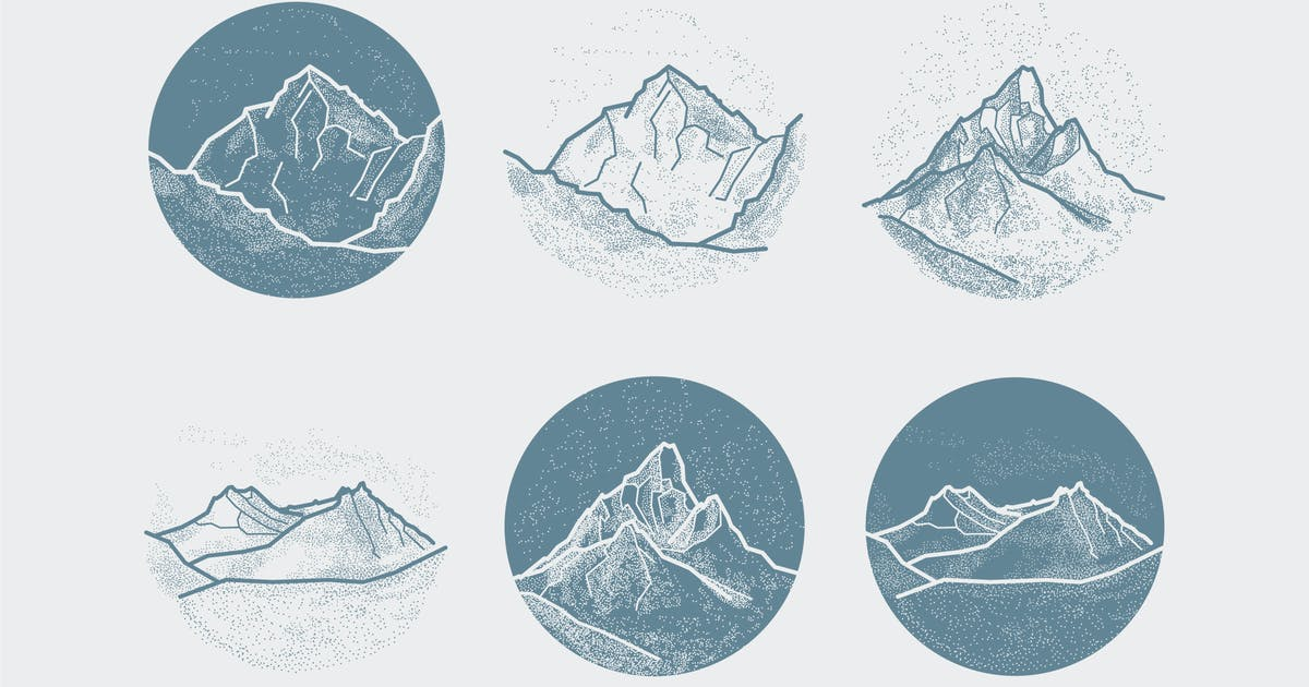 Download Vector Mountains Tattoo. Blackwork, dot work, hips by fet