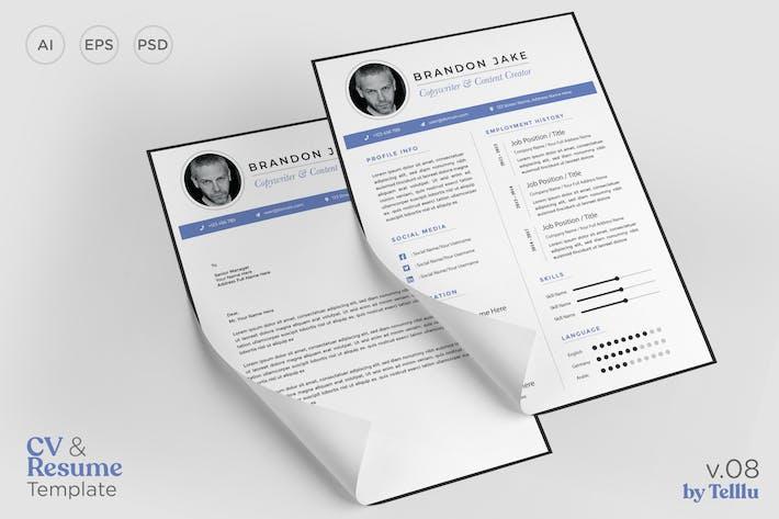 Thumbnail for Resume CV Template v.08