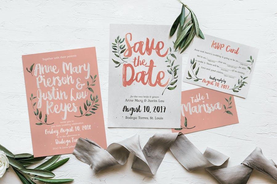 Rustic Pink & Green Invitation
