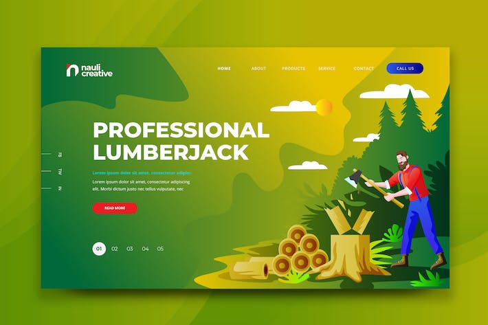 Thumbnail for Professional Lumberjack Web PSD and AI Template